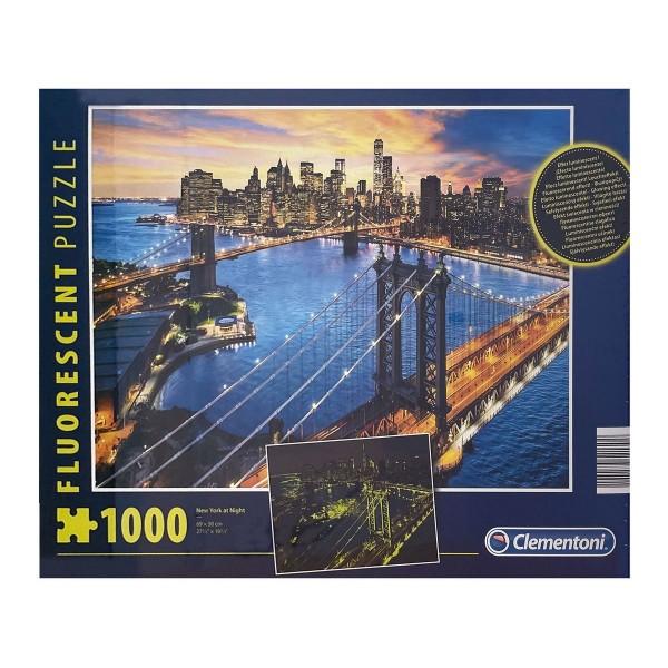 Clementoni 97769 - Fluorescent-Puzzle - New York, 1000 Teile, leuchtet im Dunkeln