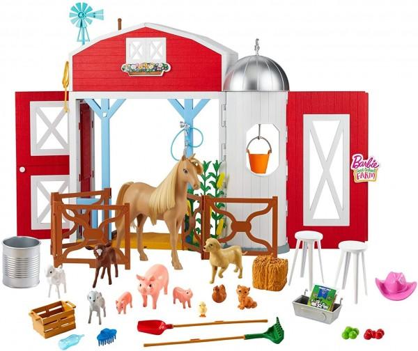 """Mattel GJB66 - Barbie - Sweet Orchand Farm - """"Spaß auf dem Bauernhof"""" Pferdehof Spielset mit Scheune"""