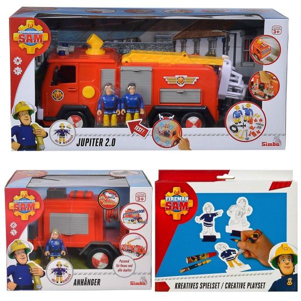 SPAR-SET 183168 - Feuerwehrmann Sam - Jupiter 2.0 Feuerwehrauto mit Anhänger und Spielfiguren