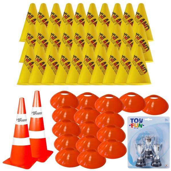SPAR-SET 179428 - Pylonen-Set für Sport, Vereine, Slalom - Hütchenset Fußball, Basketball, Handball,