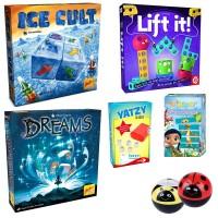 SPAR-SET 176389 - Familien-Spielepaket - Ice Cult, Lift it, Dreams, Yatzy Kids, Wissper