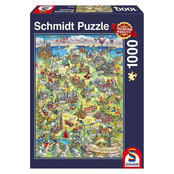 Schmidt 58330 - Premium Quality - Illustrierte Deutschlandkarte, 1000 Teile Puzzle