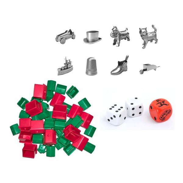 Hasbro 90002 BUNDLE - Monopoly - Zubehör Set mit Spielfiguren - Häuser - Hotels - Würfel