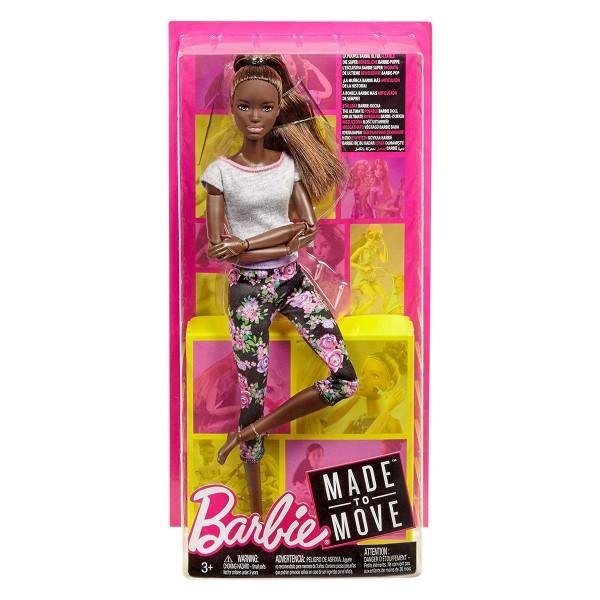 Mattel FTG83 - Barbie - Made to Move Puppe, brünett mit Afro-Style