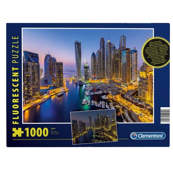 Clementoni 97701 - Fluorescent-Puzzle - Dubai, 1000 Teile, leutet im Dunkeln
