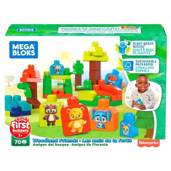 Mattel GMB63 - Mega Bloks - Bausteine, 70 Teile, Waldfreunde, Safari