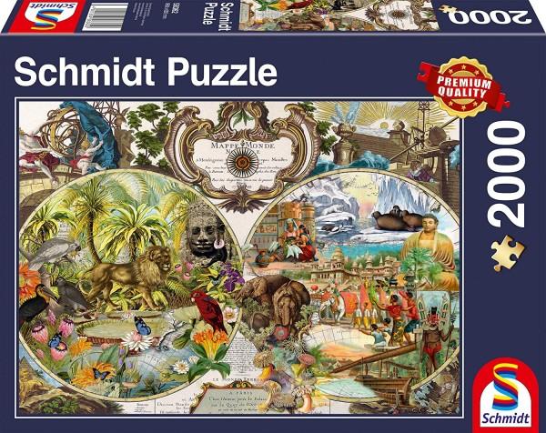 Schmidt 58362 - Premium Quality - Exotische Weltkarte, 2000 Teile Puzzle