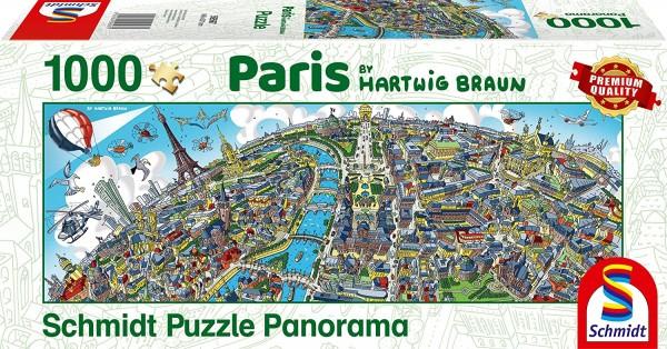 Schmidt 59597 - Premium Quality - Hartwig Braun - Stadtbild Paris - Panorama Puzzle 1000 Teile