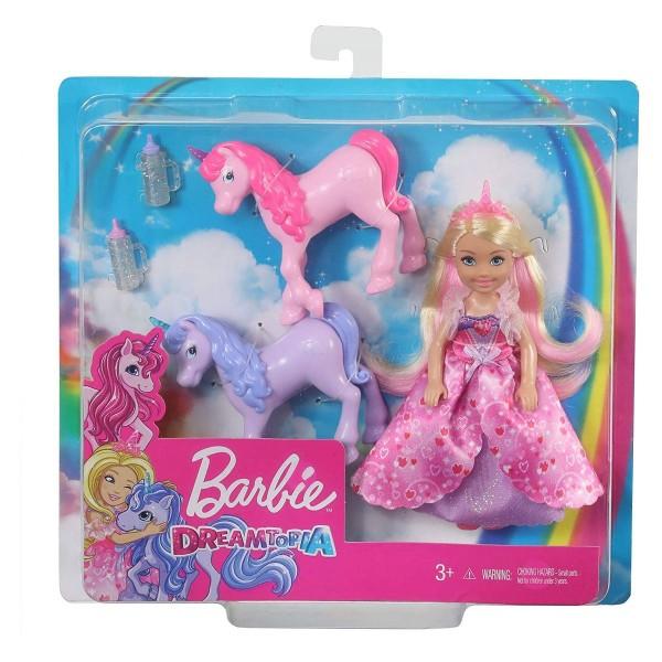 Mattel GJK17 - Barbie Dreamtopia - Prinzessin-Puppe Chelsea mit 2 Einörnern