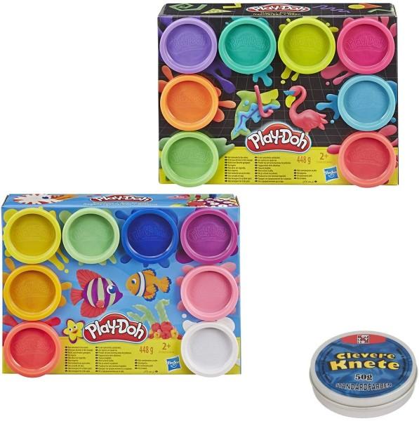SPAR-SET 180150 - Hasbro - Play-Doh - Großes Knetset mit 8 Regenbogenfarben und 8 Neonfarben, 2x 448