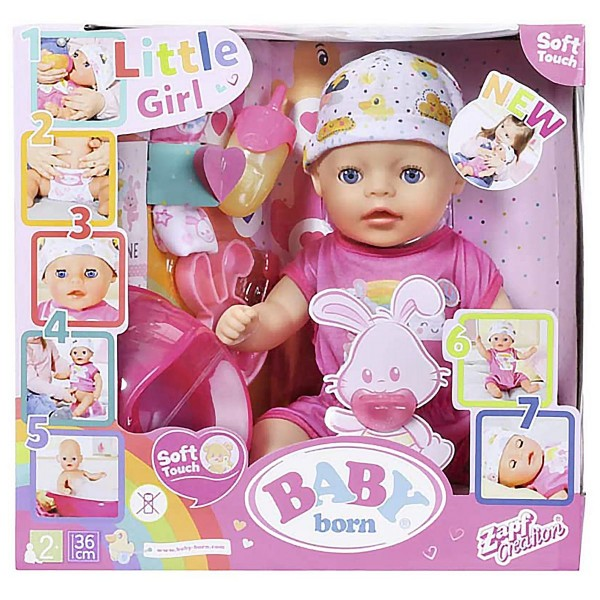 Zapf 827321 - BABY Born - Soft Touch Little Girl mit Funktion, ca. 36 cm