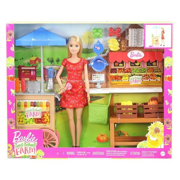 Mattel GJB65 - Barbie - Süßer Obstgarten Bauernhof Spielset mit Puppe, Wochenmarkt