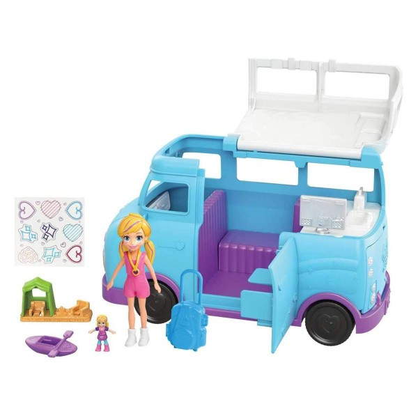 Mattel FTP74 - Polly Pocket - Spielset mit Puppe und Zubehör, Camper