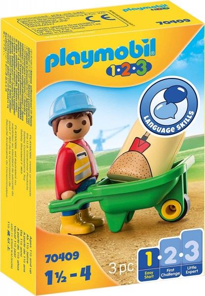 PLAYMOBIL® 70409 - 1•2•3 - Bauarbeiter mit Schubkarre