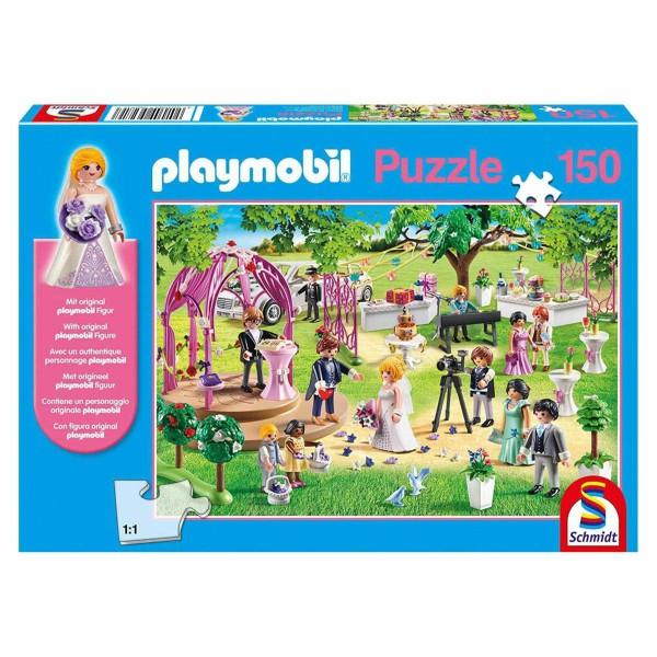 Schmidt 56271 - PLAYMOBIL® - Puzzle, 150 Teile, inkl. original Figur, Die Hochzeit