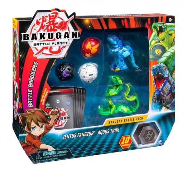 Spin Master 6045132 (20108833) - Bakugan Battle Planet - Battle 5-Pack, Ventus Fangzor & Aquos Trox;