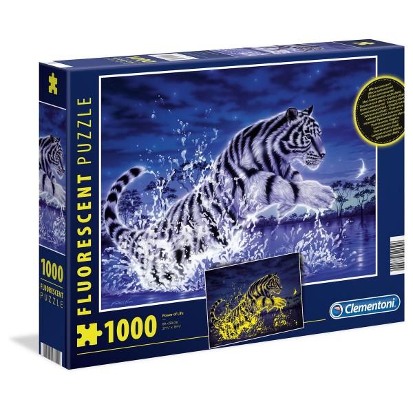 Clementoni 97700 - Fluorescent-Puzzle - Tiger - Power of Life, 1000 Teile, leuchtet im Dunkeln
