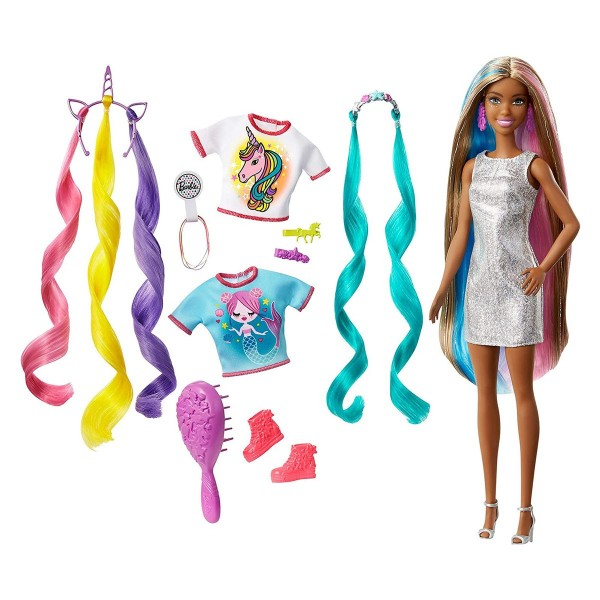 Mattel GHN05 - Barbie - Fantasy Hair - Puppe Meerjungfrau/Einhorn