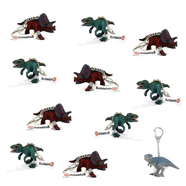 SPAR-SET 170289 - Schleich - 10 Dinosaurier Schlüsselanhänger, 2 verschiedene Spezies + T-Rex Anhäng