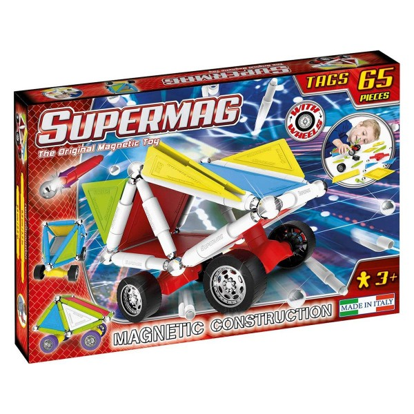 John 0182 - Supermag - Magnetspielzeug, 65 Teile, The Wheels