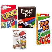 SPAR-SET 169882 - Mattel - 4er Set Kartenspiele: UNO, Skip Bo, Phase 10 und Snappy Dressers
