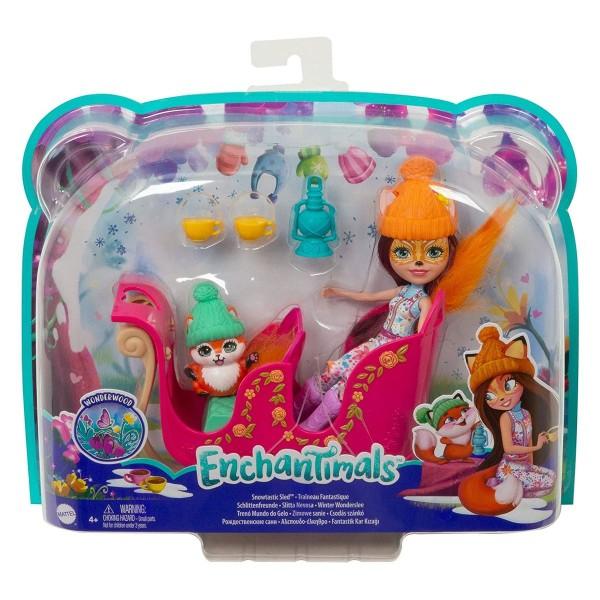 Mattel GJX31 - Enchantimals - Spielset, Puppe mit Zubehör, Schlittenfreunde