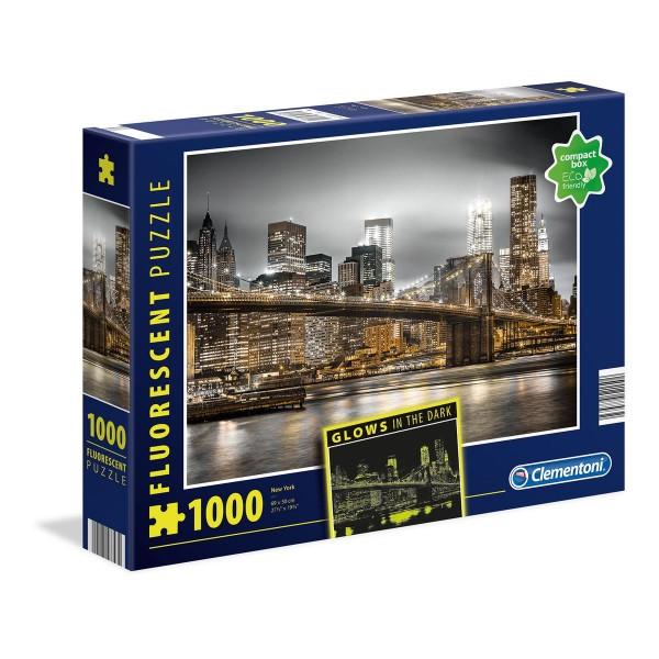 Clementoni 97793 - Fluorescent-Puzzle - New York - Manhatten, 1000 Teile, leuchtet im Dunkeln