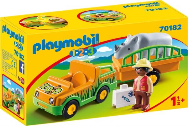 PLAYMOBIL® 70182 - 1•2•3 - Zoofahrzeug mit Nashorn