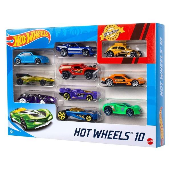 Mattel 54886 sort. - Hot Wheels - Die Cast Fahrzeuge, 10-er Pack, mehrfach sortiert