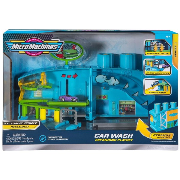 Jazwares MMW0035 - Micro Machines - Spielset, Waschstraße mit Fahzeug