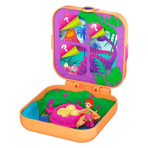 Mattel GKV10 - Polly Pocket - Mini Spielset, Dino Expedition