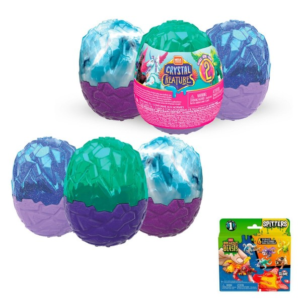 SPAR-SET 179809 sort. - Mattel - Mega Construx - 6 Crystal Creatures Eier, Slime Eggs, Serie 2