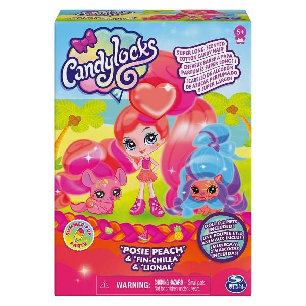 Spin Master 6056614 - Candylocks - Haarspielpuppe mit 2 Tieren, Posie Peach