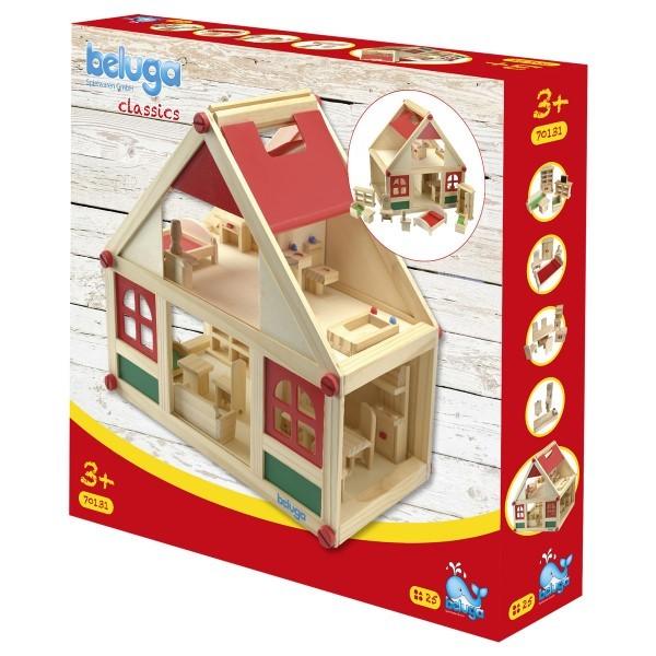 Beluga 70131 2.Wahl - Puppenhaus mit Möbeln aus Holz