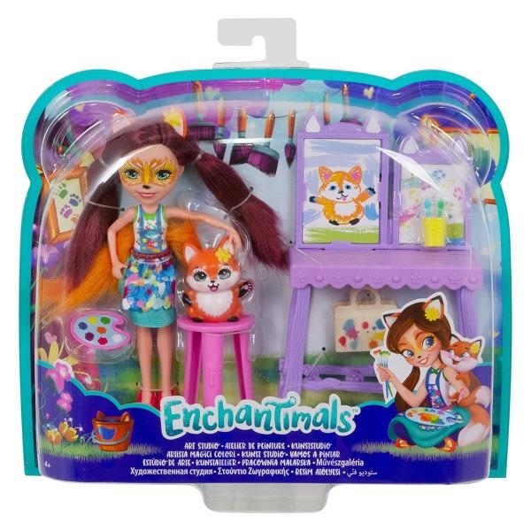 Mattel GBX03 - Enchantimals - Spielset mit Figuren, Kunststudio
