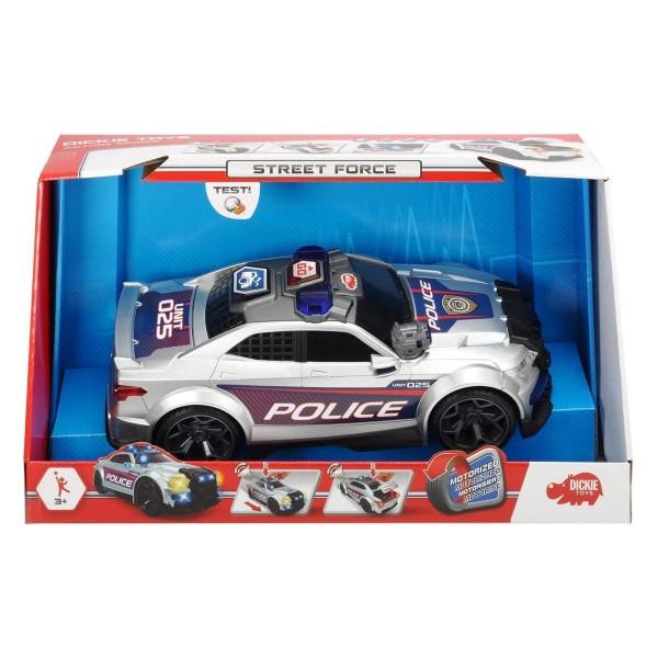 Simba 203308376 - Dickie Toys - Street Force - Spielauto mit Licht und Sound, Polizeiwagen