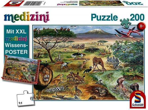 Schmidt 56292 - Puzzle 200 Teile, Tiere in Ostafrika