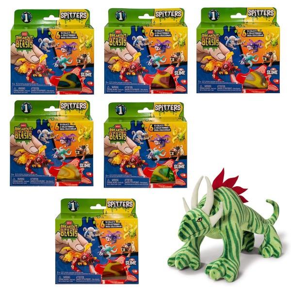 SPAR-SET 186355 - Breakout Beasts - 6 verschiedene Spitters, Slime-Figuren + Monster Plüschfigur