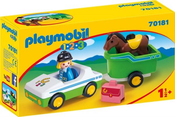 PLAYMOBIL® 70181 - 1•2•3 - PKW mit Pferdeanhänger