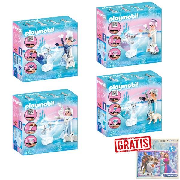 SPAR-SET 176829 - PLAYMOBIL® - playmogram - Eis-Prinzessinen - 4 Designs + Frozen Puzzle, 54 Teile