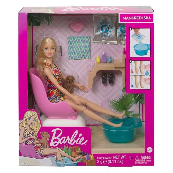 Mattel GHN07 - Barbie - Spielset mit Puppe und Zubehör, Wellness Maniküre Pediküre Spa