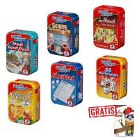 SPAR-SET 174854 - Schmidt Bringsel - 6 verschiedene Mitbring-Spiele in Metallbox + Gratis Snappy Dre