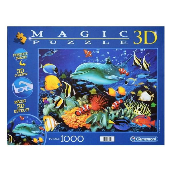 Clementoni 97791 - Magic 3D-Puzzle - Delfin Riff, 1000 Teile