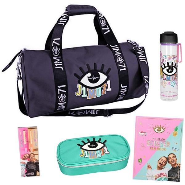SPAR-SET 180331 - Depesche - Lisa und Lena - Tasche mit Federtasche, Kugelschreibern, Trinkflasche u