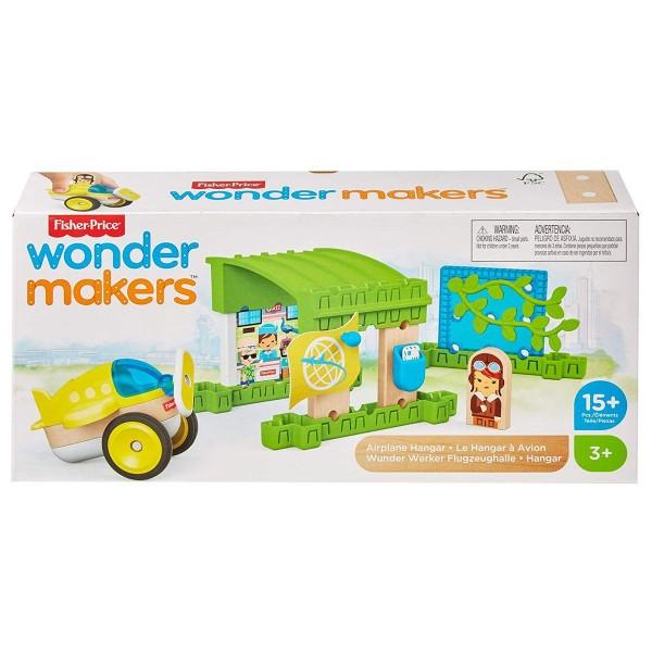 Mattel GLM43 - Fisher-Price - wonder makers - Spielset, Bausteine aus Holz, 15 Teile, Flugzeughalle