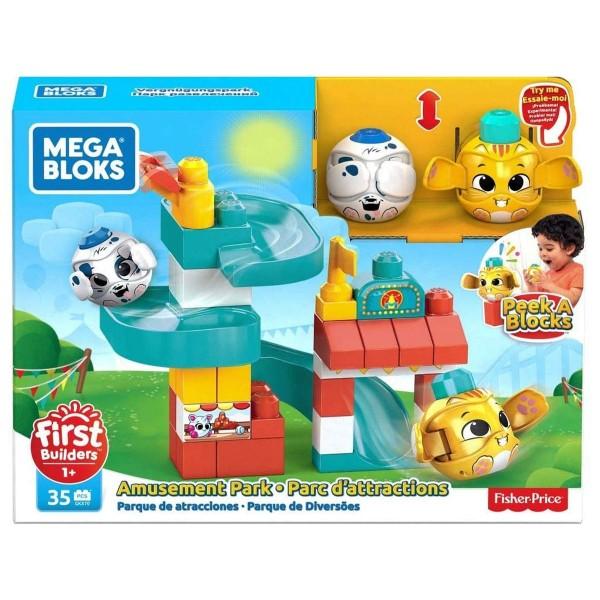 Mattel GKX70 - Fisher-Price - Mega Bloks - Bausteine Set, 35 Teile, Guck-Guck Vergnügungspark
