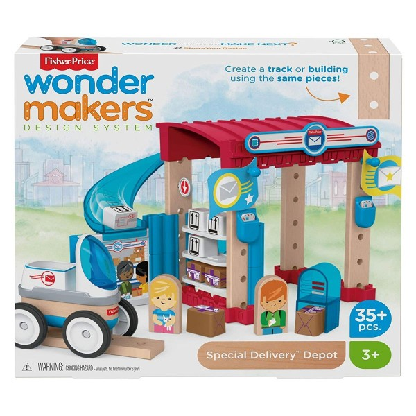 Mattel GFJ14 - Fisher Price - wonder makers - Holzspielzeug Post, 35 Teile