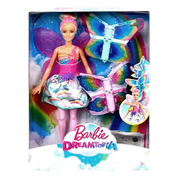 Mattel FRB08 - Barbie - Dreamtopia - Puppe, Regenbogen-Königreich, Magische Flügel-Fee