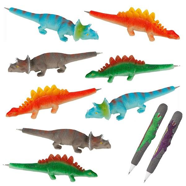 SPAR-SET 172929 - Depesche - 8 Dinokugelschreiber + 2 Dino World Rubbel-Kugelschreiber