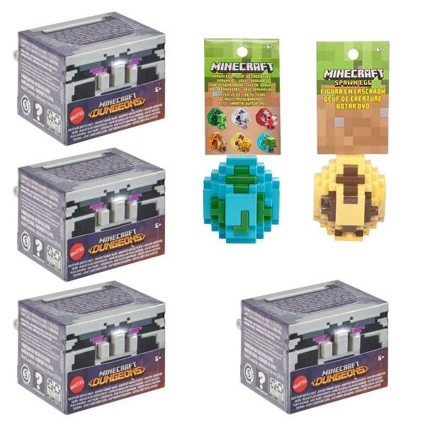 SPAR-SET 187018 - Mojang - Minecraft - 4 Dungeons Truhen Kampfsets + 2 Spawn-Eggs